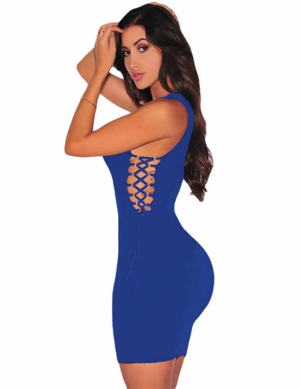 vestido azul electrico ajustado sensual
