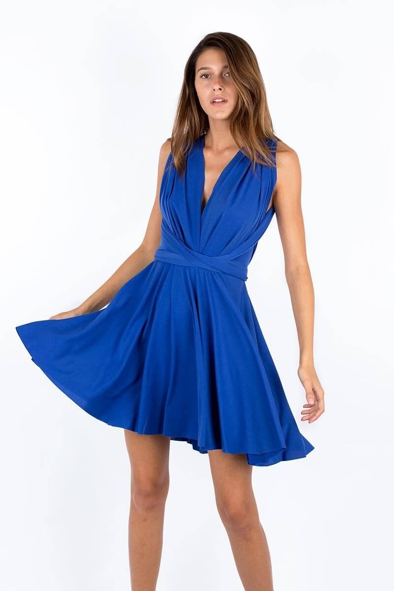 vestido azul electrico corto pollera