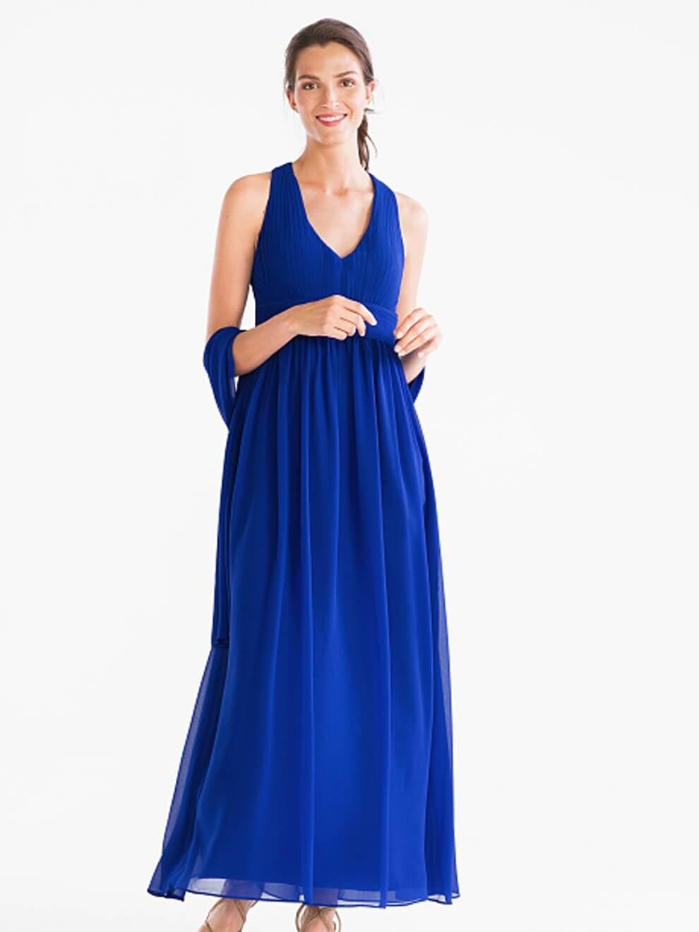 vestido azul electrico largo embarazada
