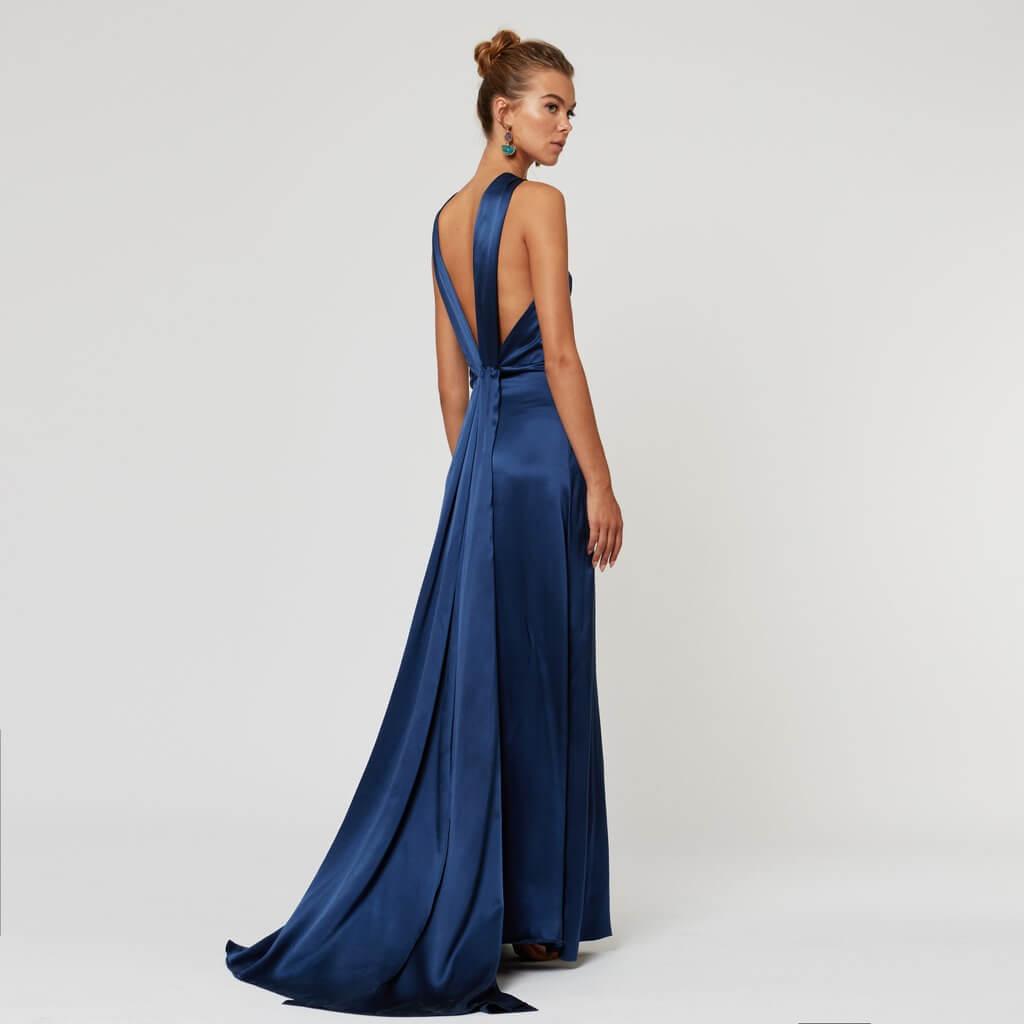 vestido azul electrico largo