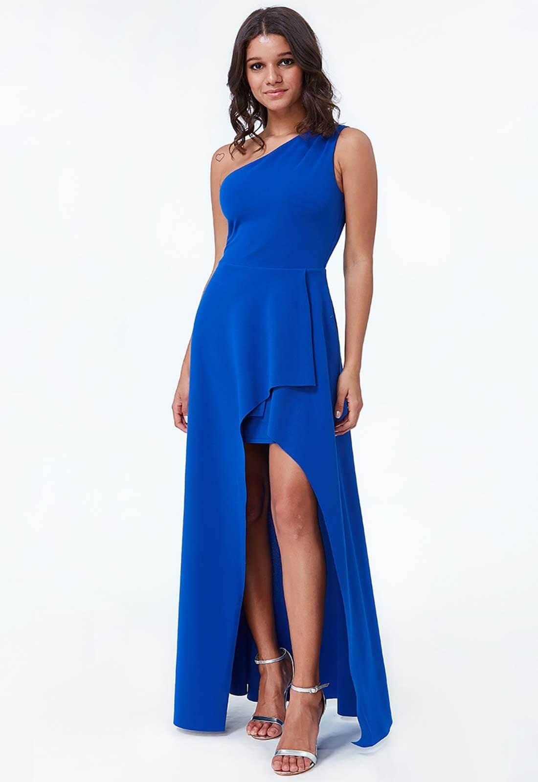 vestido azul electrico tajo juvenil