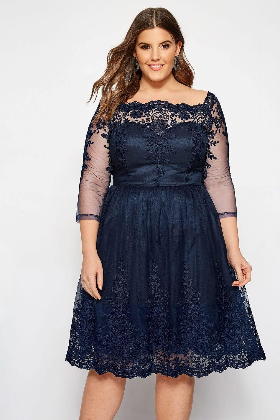 vestidos azul cortos noche gordita