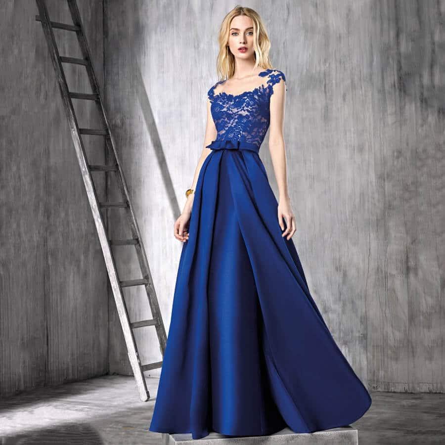 vestidos azul noche largo elegante