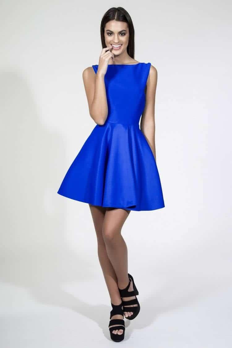vestidos azul rey adolescente
