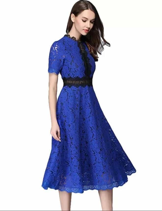 vestidos azul rey bordado