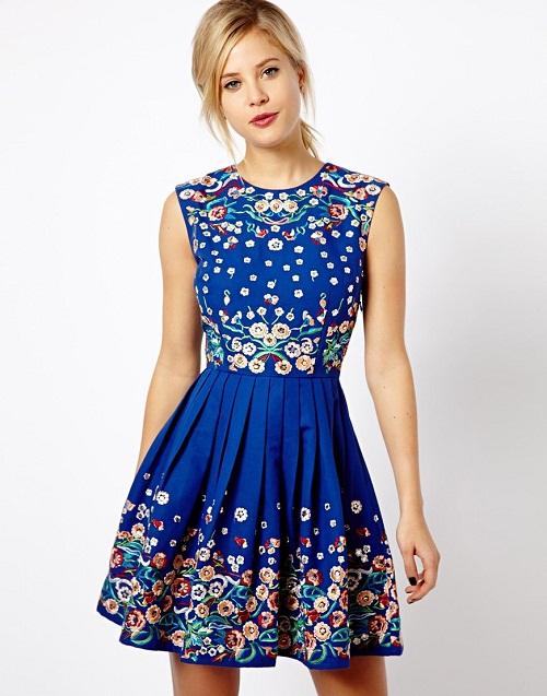 vestidos azul francia corto floreado