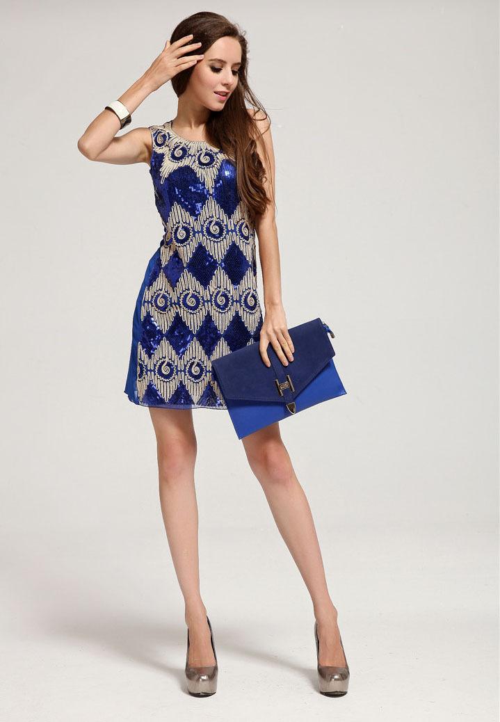 vestidos azul y blanco corto entallado