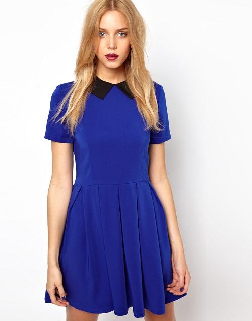 vestidos azul rey corto pollera