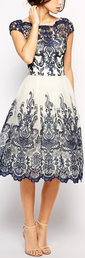 vestidos azul y blanco largo