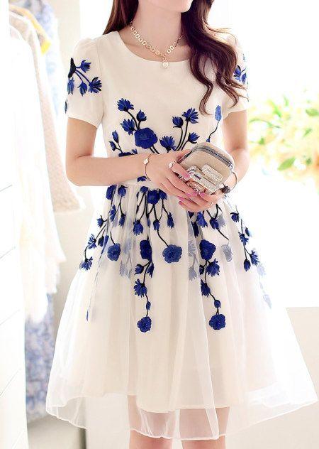vestidos azul y blanco fiesta dia