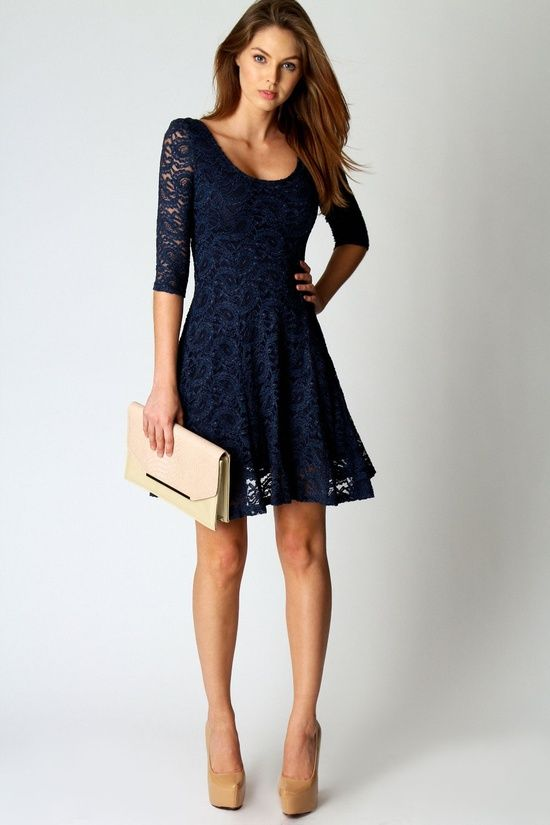 vestidos azul marino corto bordado