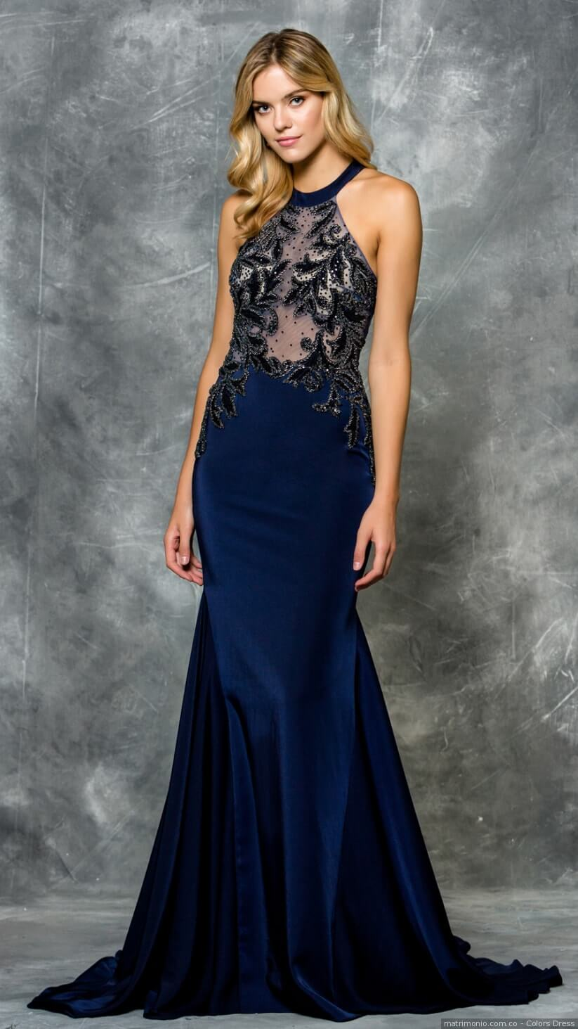 vestidos azules noche elegantes