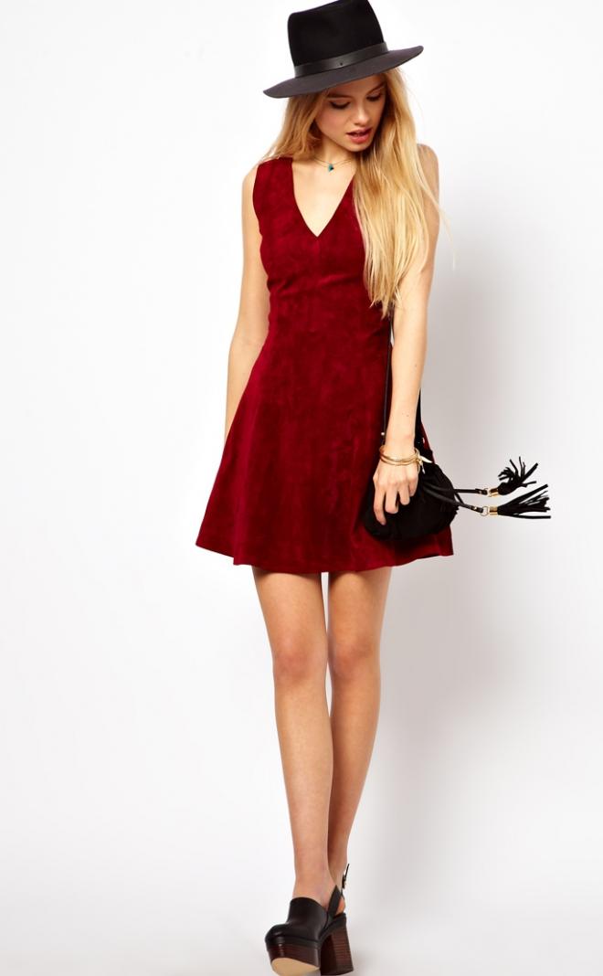 vestido-de-gamuza-rojo-de-moda-2015