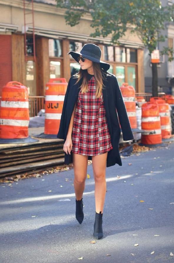 Para el invierno-otoño 2015 también se usan los vestidos a cuadros