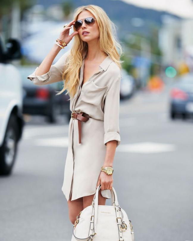 Combinar vestido camisero blanco