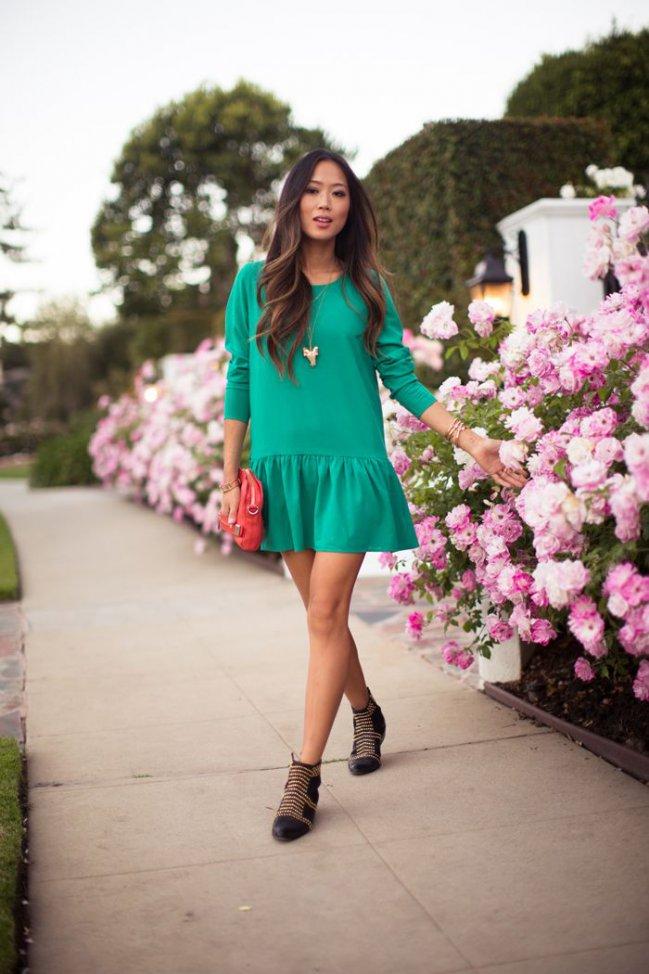 ideas-para-combinar-un-vestido-verde 4