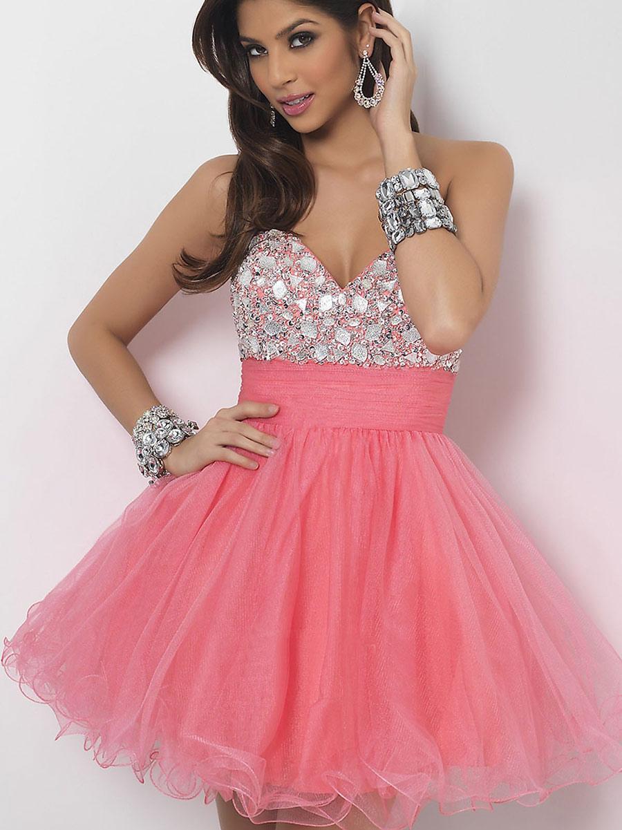 Vestidos de 15 anos cortos color rosa (1)