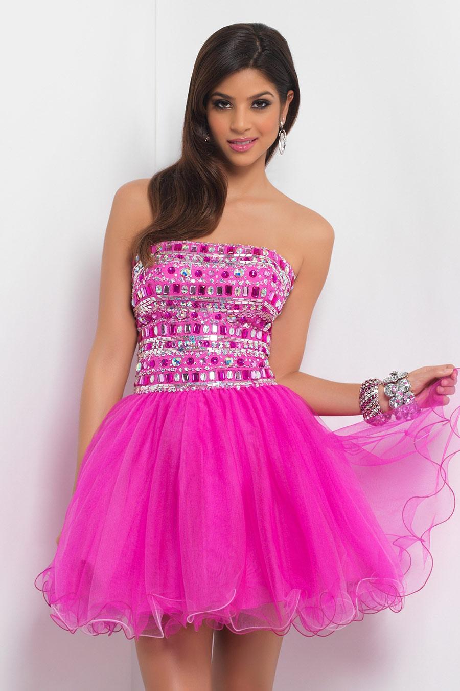 Vestidos de 15 anos cortos color rosa (11)
