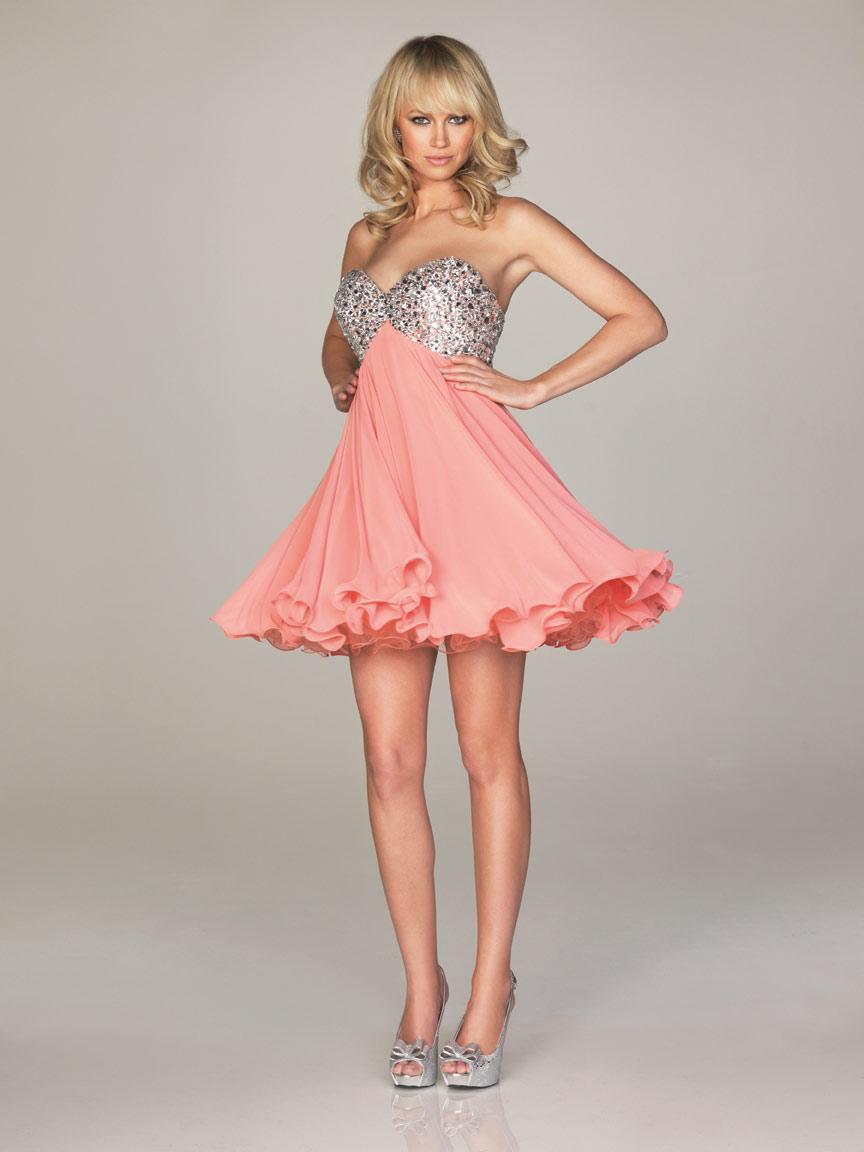 Vestidos de 15 anos cortos color rosa (12)