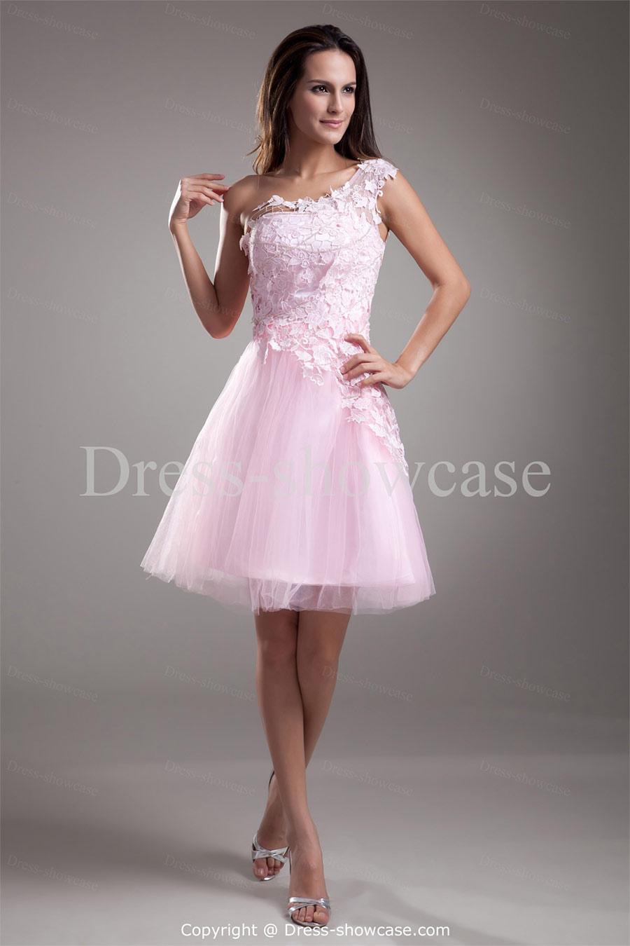 Vestidos de 15 anos cortos color rosa (16)