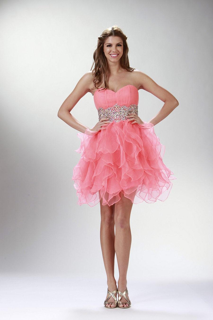 Vestidos de 15 anos cortos color rosa (17)