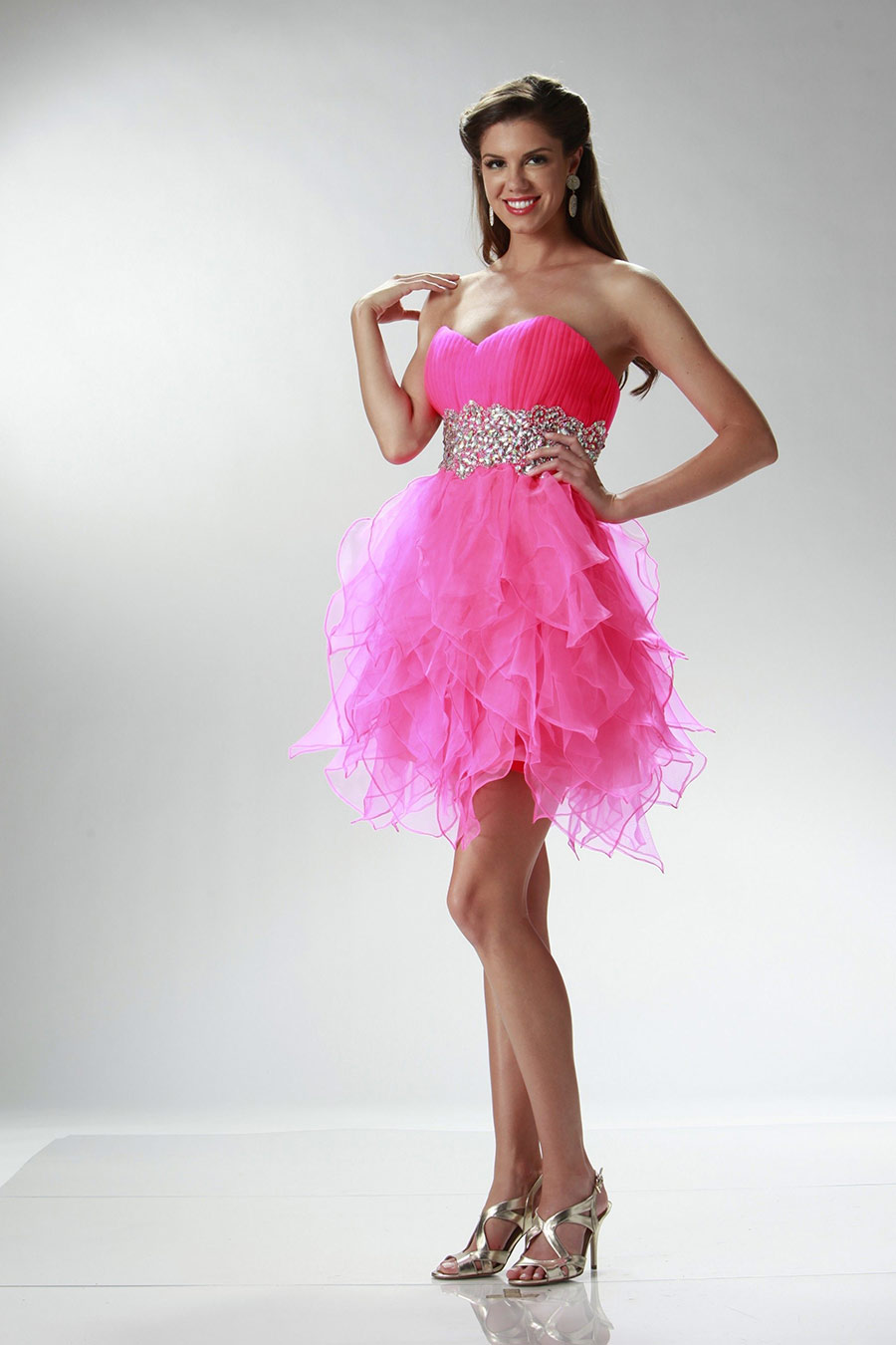 Vestidos de 15 anos cortos color rosa (18)