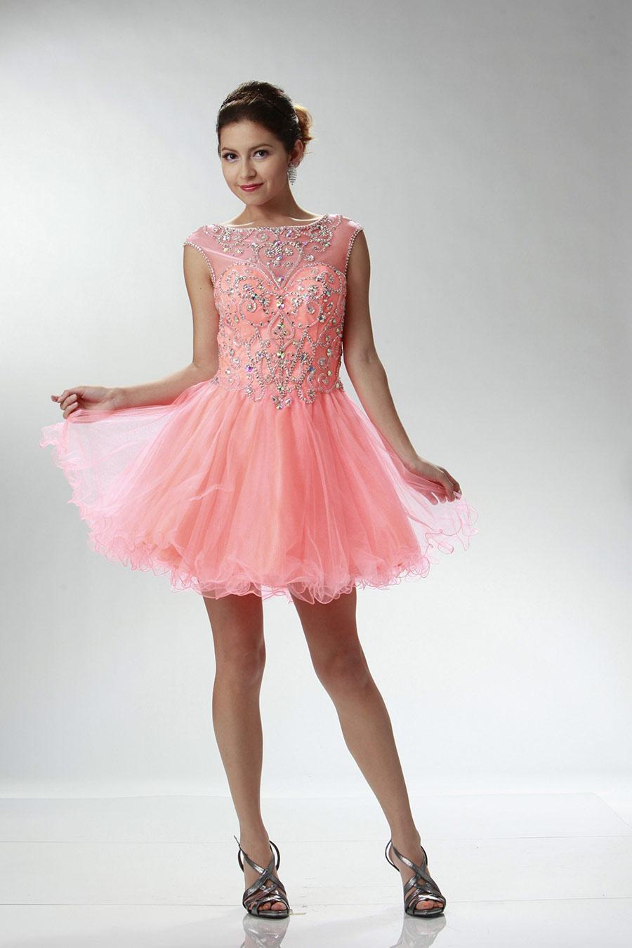 Vestidos de 15 anos cortos color rosa (19)