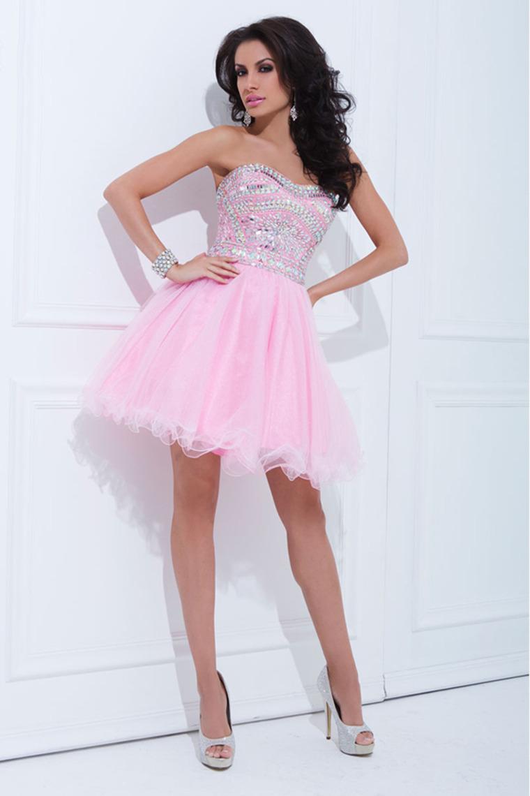 Vestidos de 15 anos cortos color rosa (5)