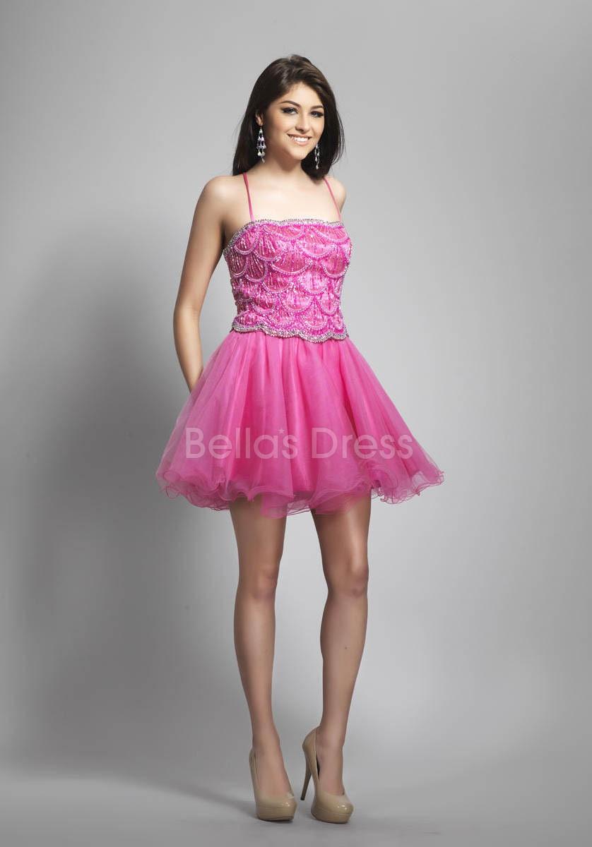 Vestidos de 15 anos cortos color rosa (6)