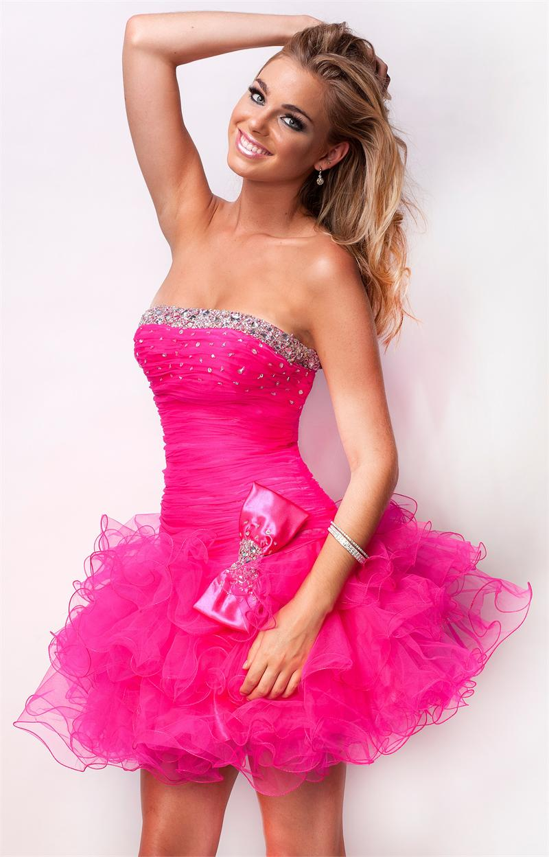 Vestidos de 15 anos cortos color rosa (7)