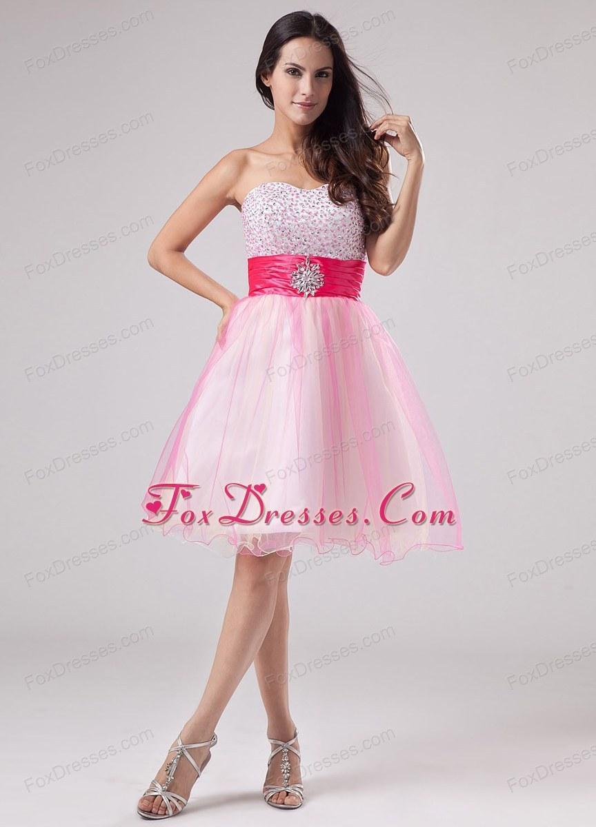 Vestidos de 15 anos cortos color rosa (8)