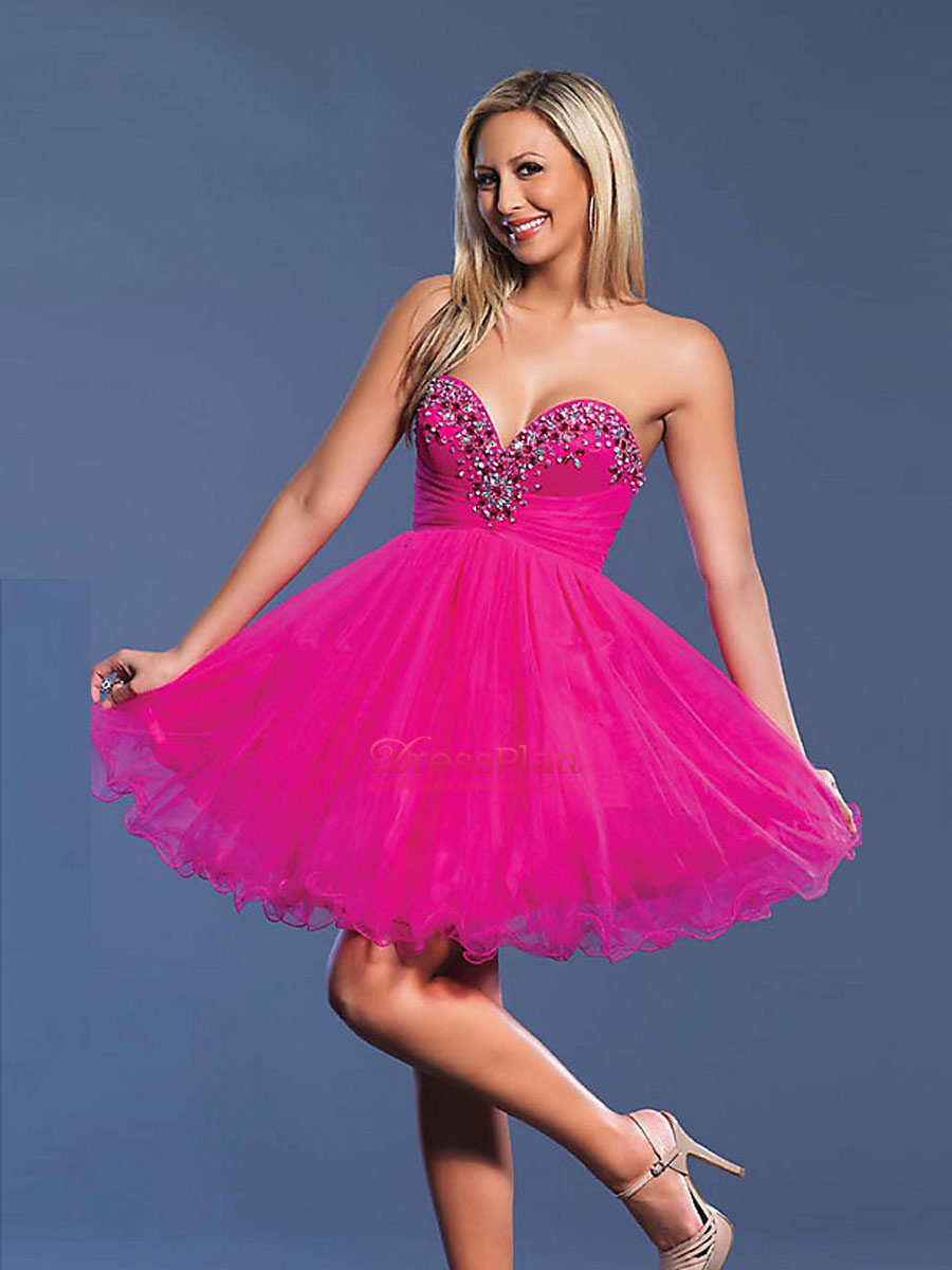 Vestidos de 15 anos cortos color rosa (9)