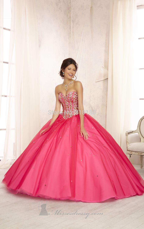 Vestidos de 15 anos largos color rosa (3)