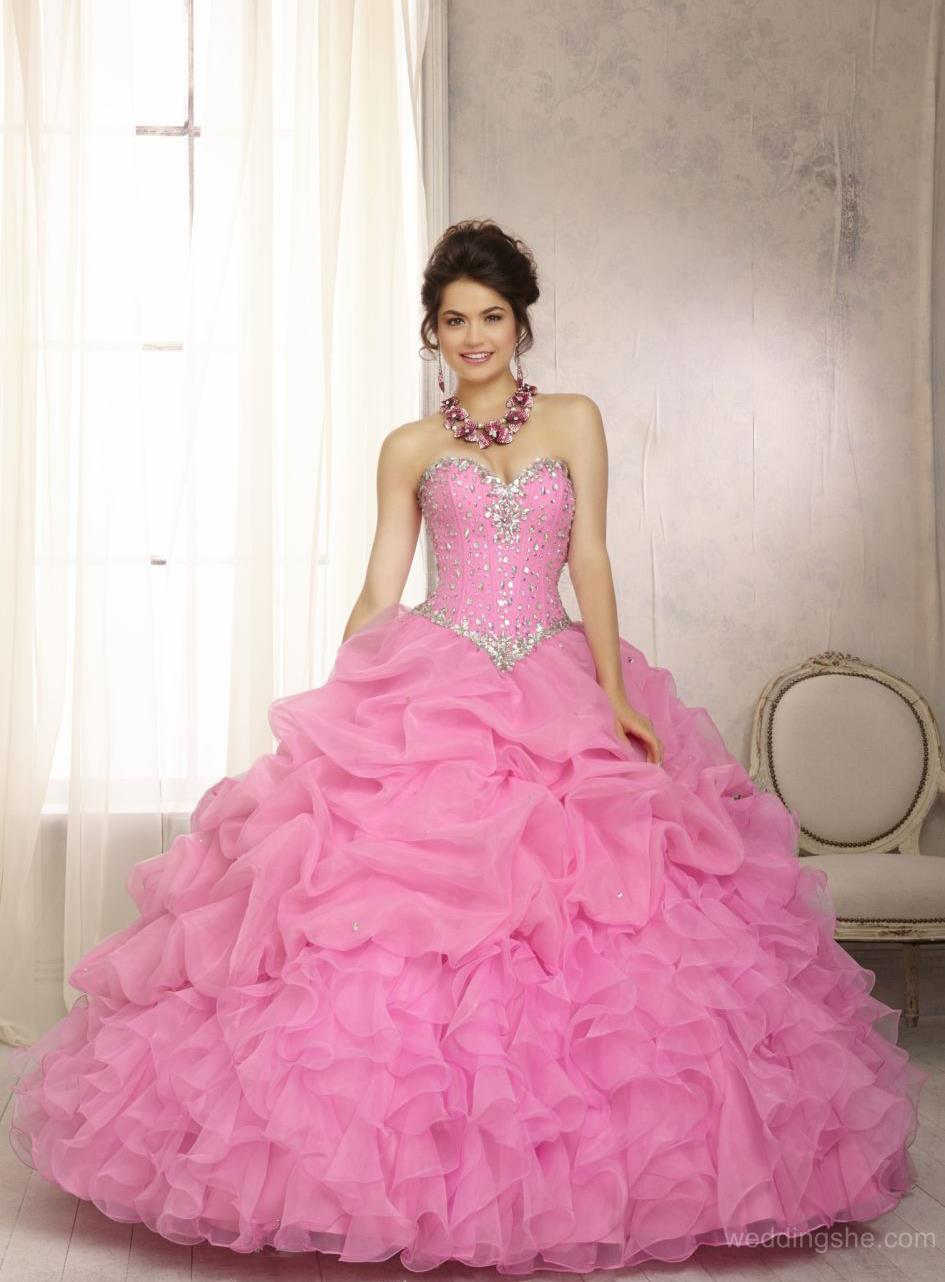 Vestidos de 15 anos largos color rosa (6)