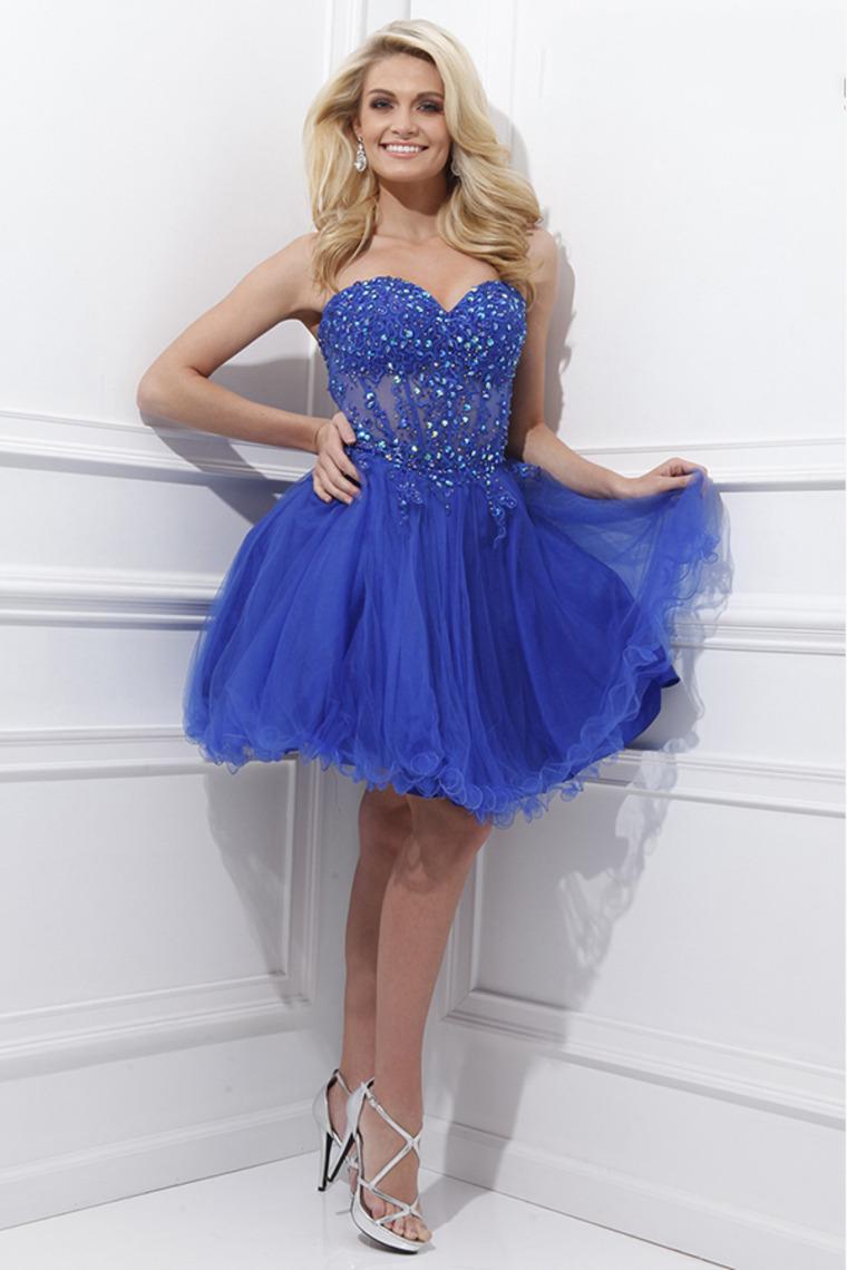 Vestidos de 15 cortos color azul (20)