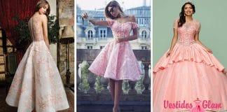 Vestidos de 15 rosa largos y cortos
