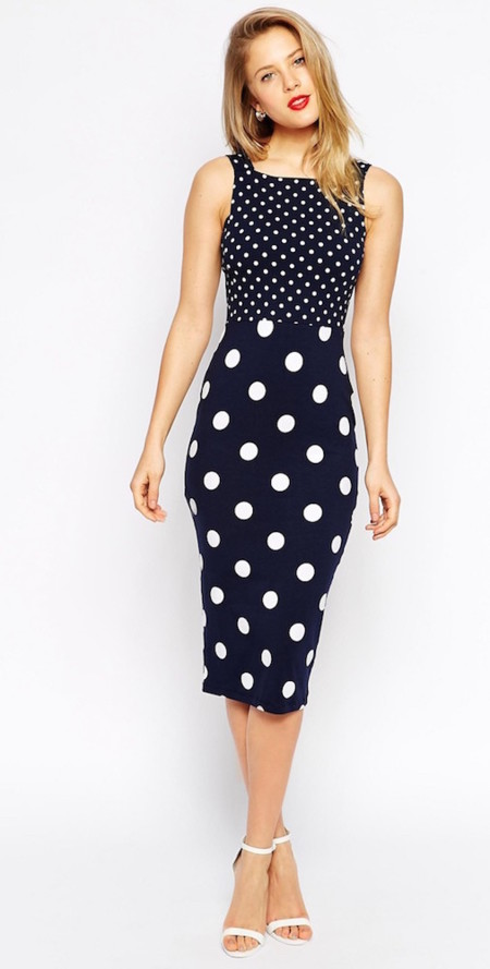 Navy Polka Dot Dress What Color Shoes