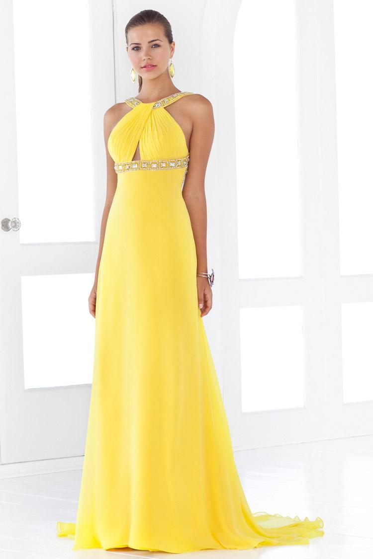Imagenes de vestidos de noche color amarillo