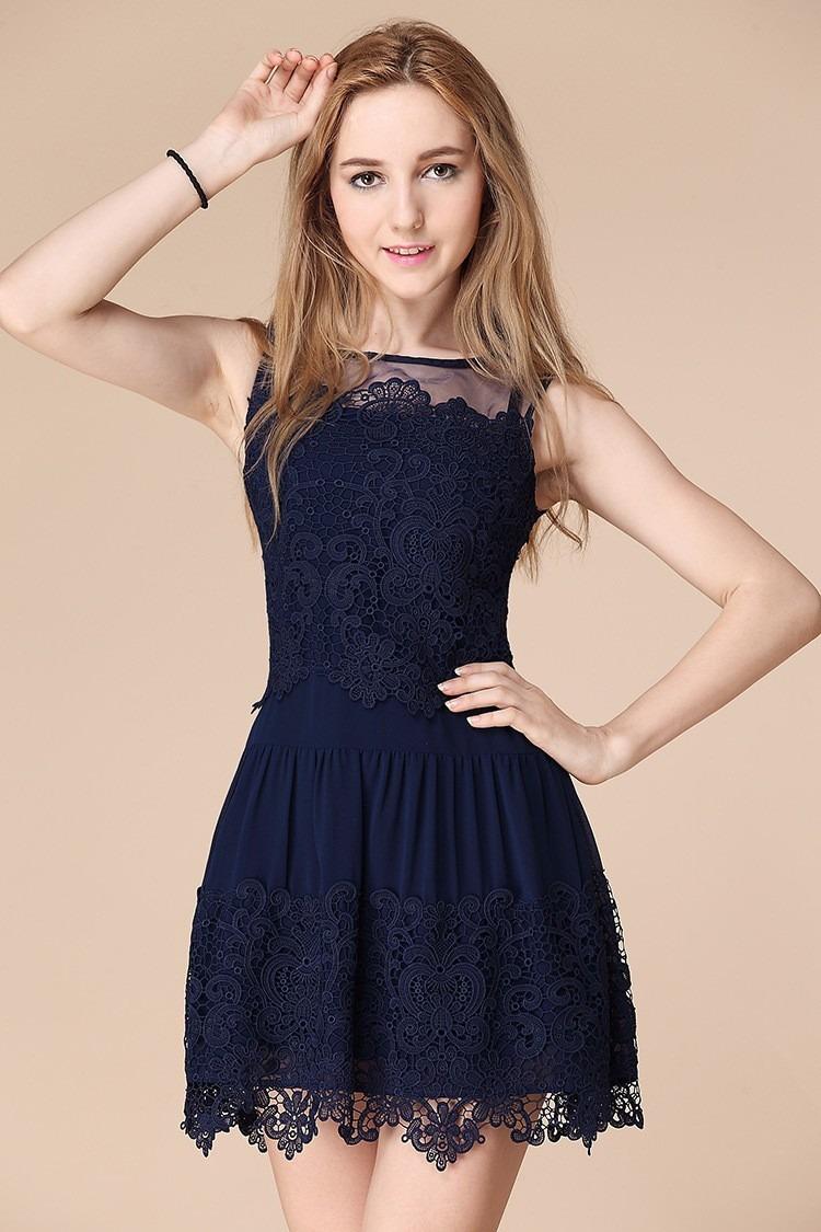 vestidos simples de navidad color azul (1)