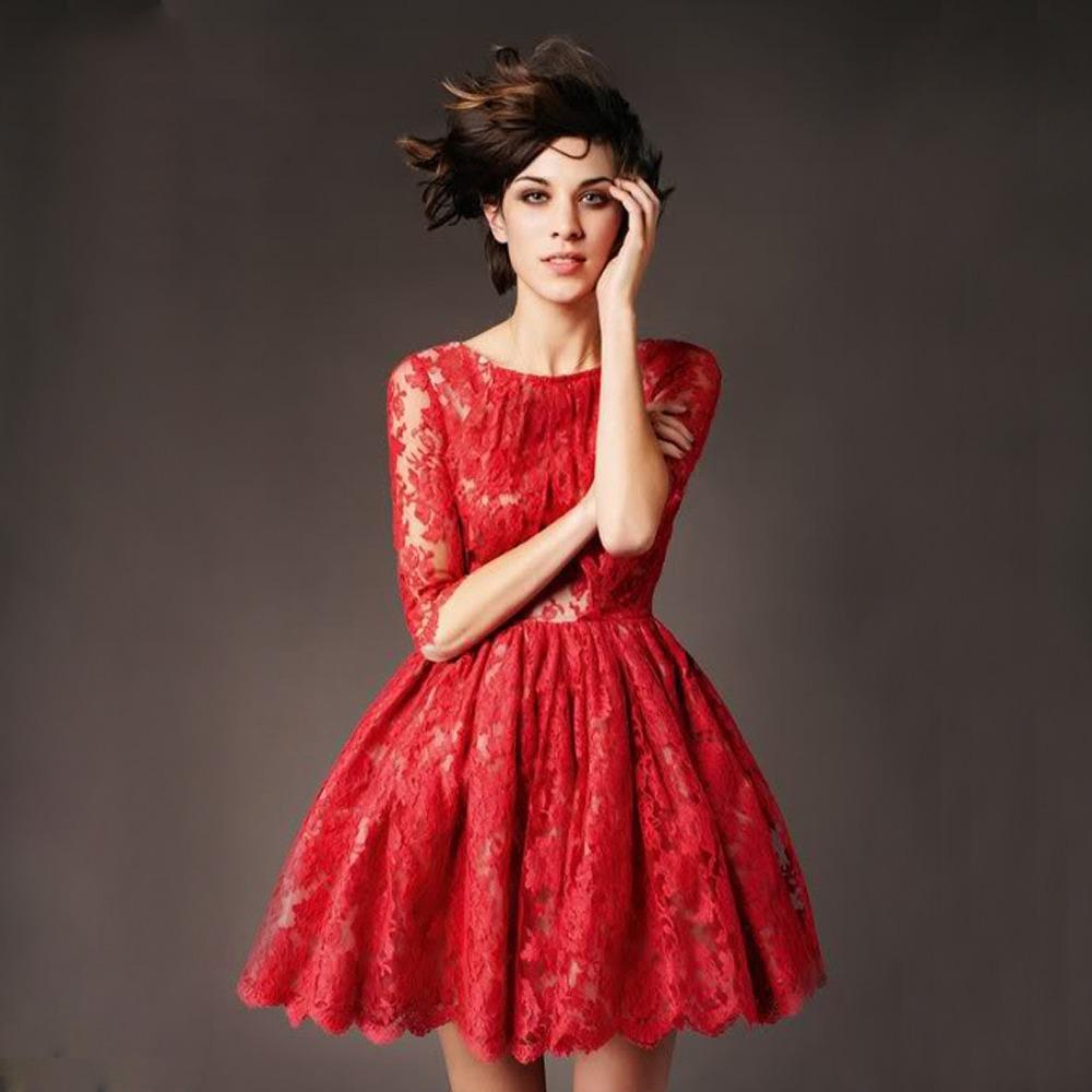 vestidos simples de navidad color rojo (2)