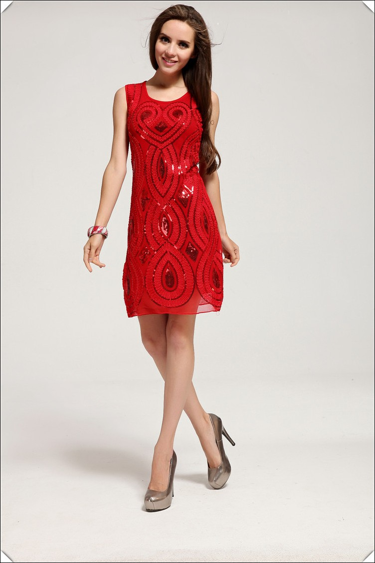 vestidos simples de navidad color rojo (4)