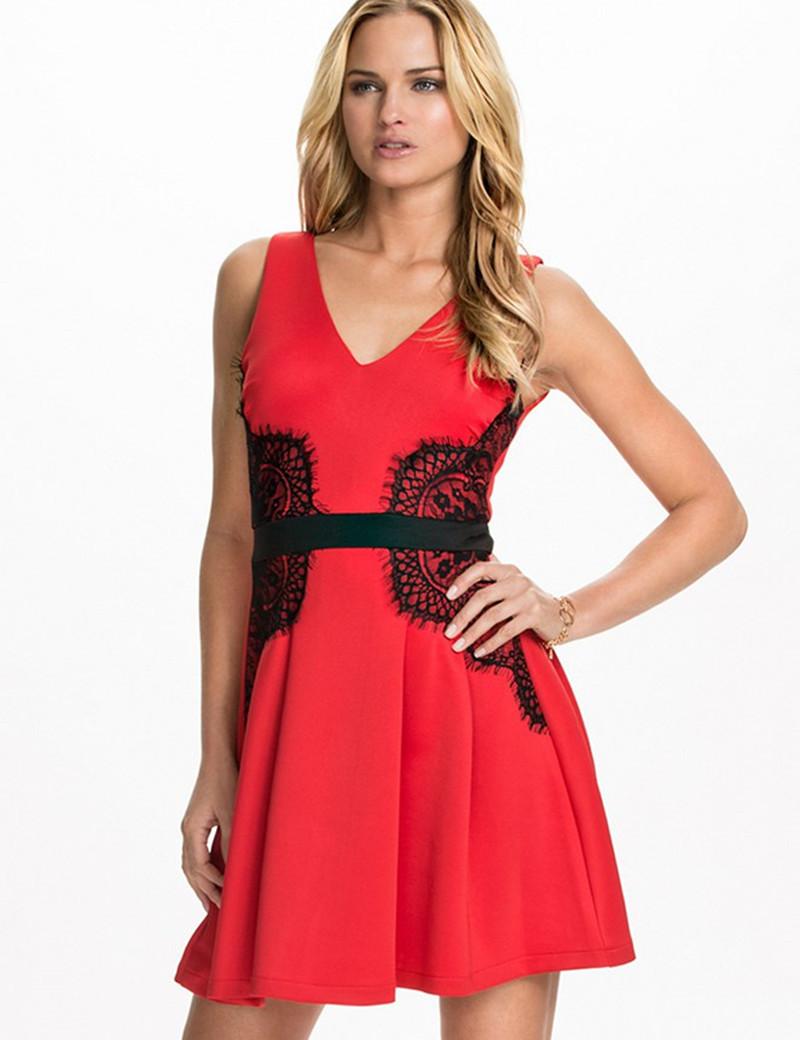 vestidos simples de navidad color rojo (5)