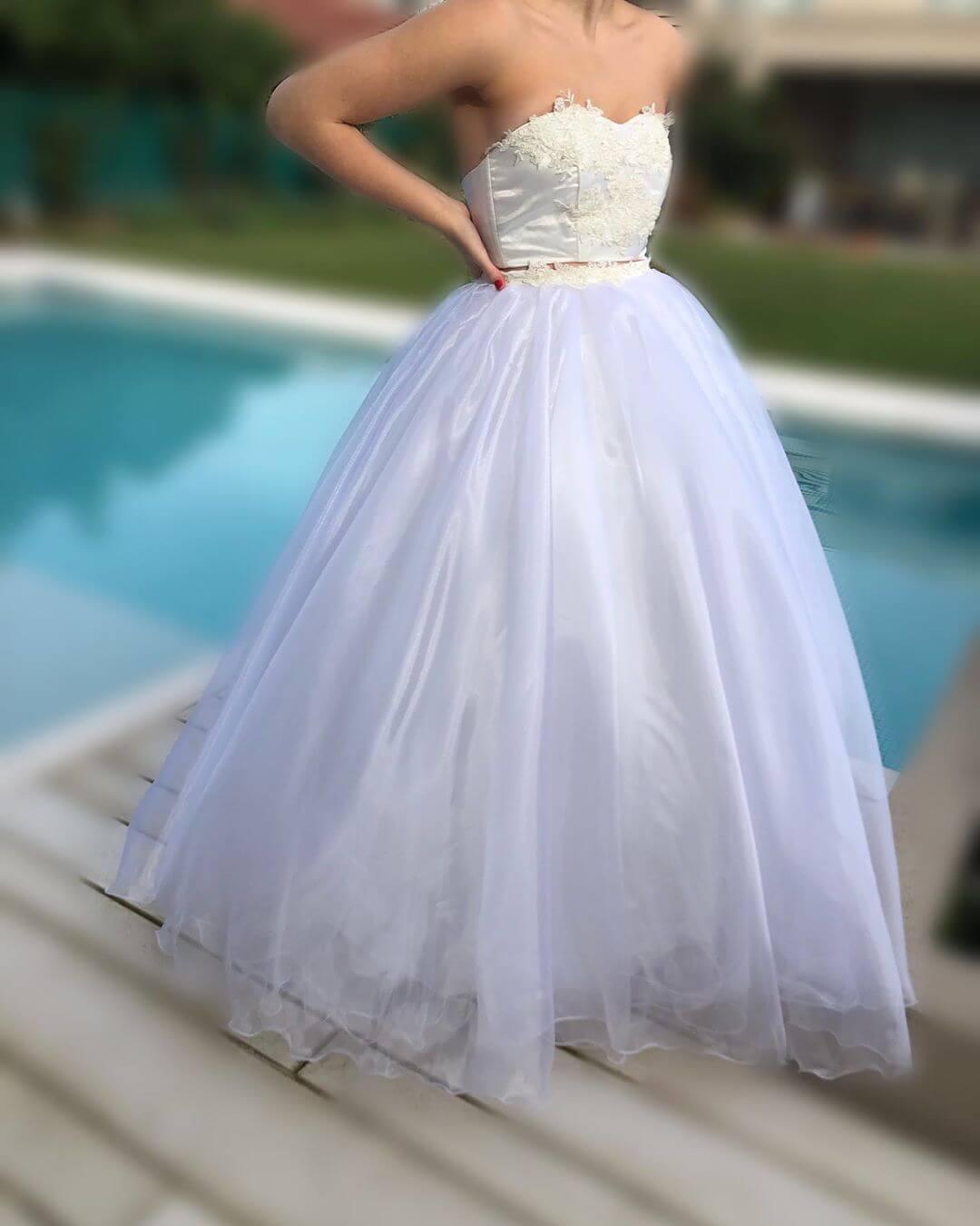 vestidos de 15 corte princesa color blanco