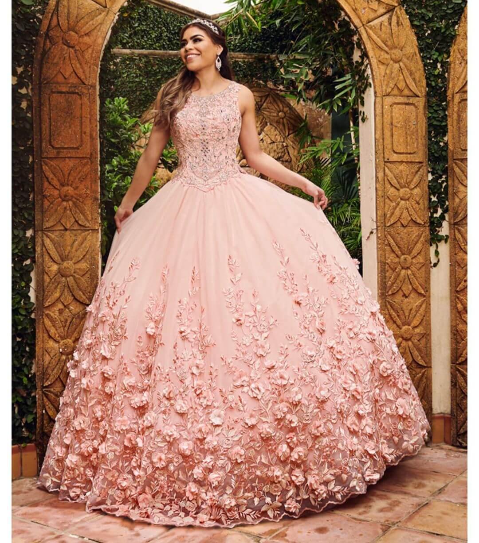 vestidos de 15 corte princesa rosa palo o rosa viejo con flores