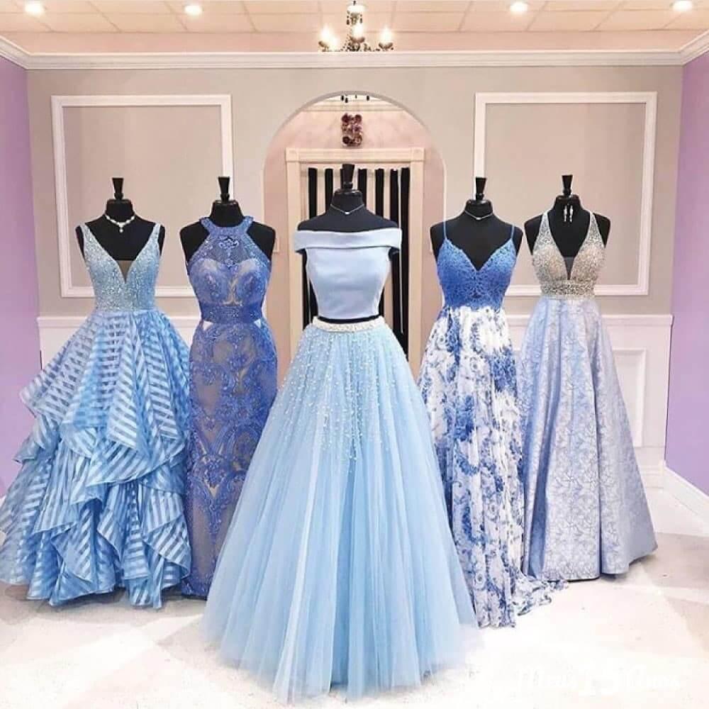 vestidos de quince corte princesa en color celeste