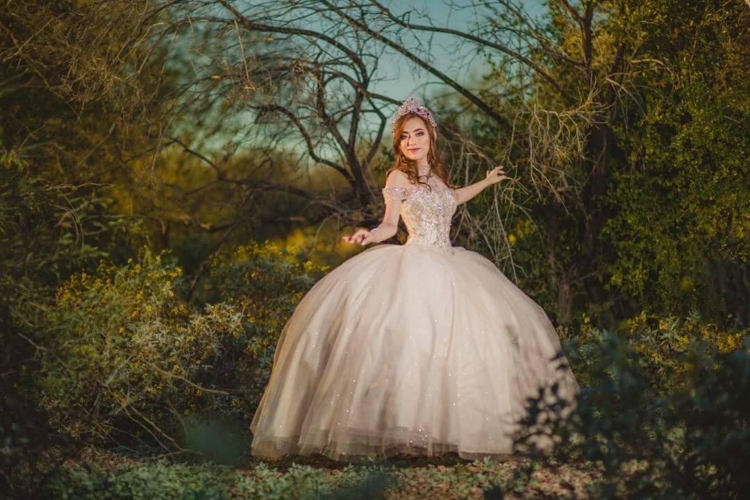 vestidos de quince corte princesa nude o rosa viejo o rosa palo