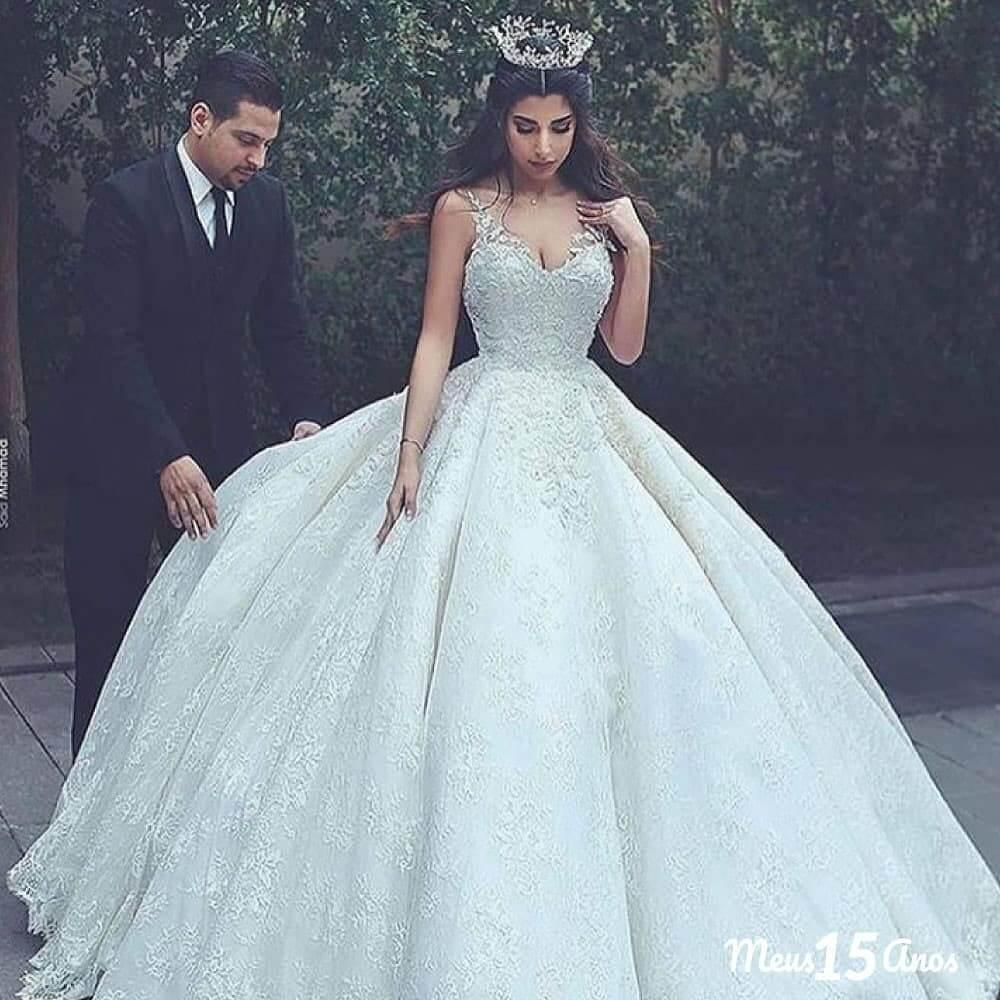 vestidos de quinceanera corte princesa blanco con encaje