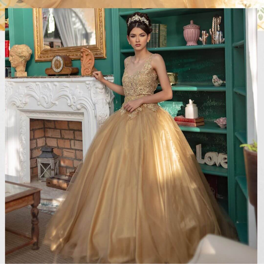 vestidos de quinceanera corte princesa oro o dorado