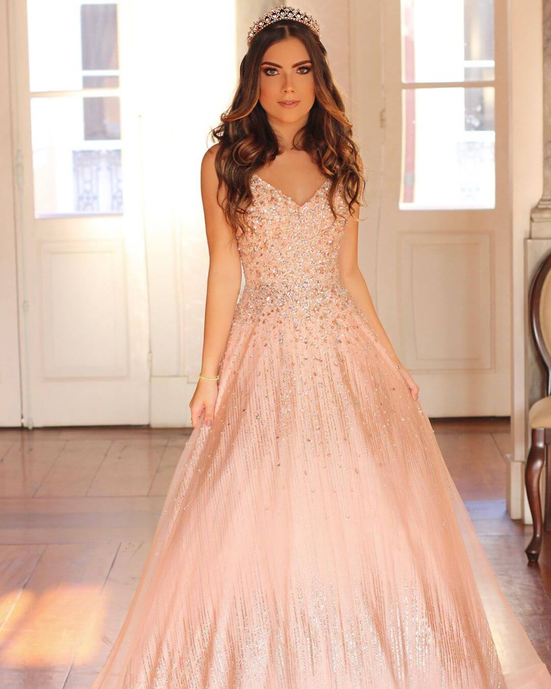 vestidos de quinceanera corte princesa rosa palo