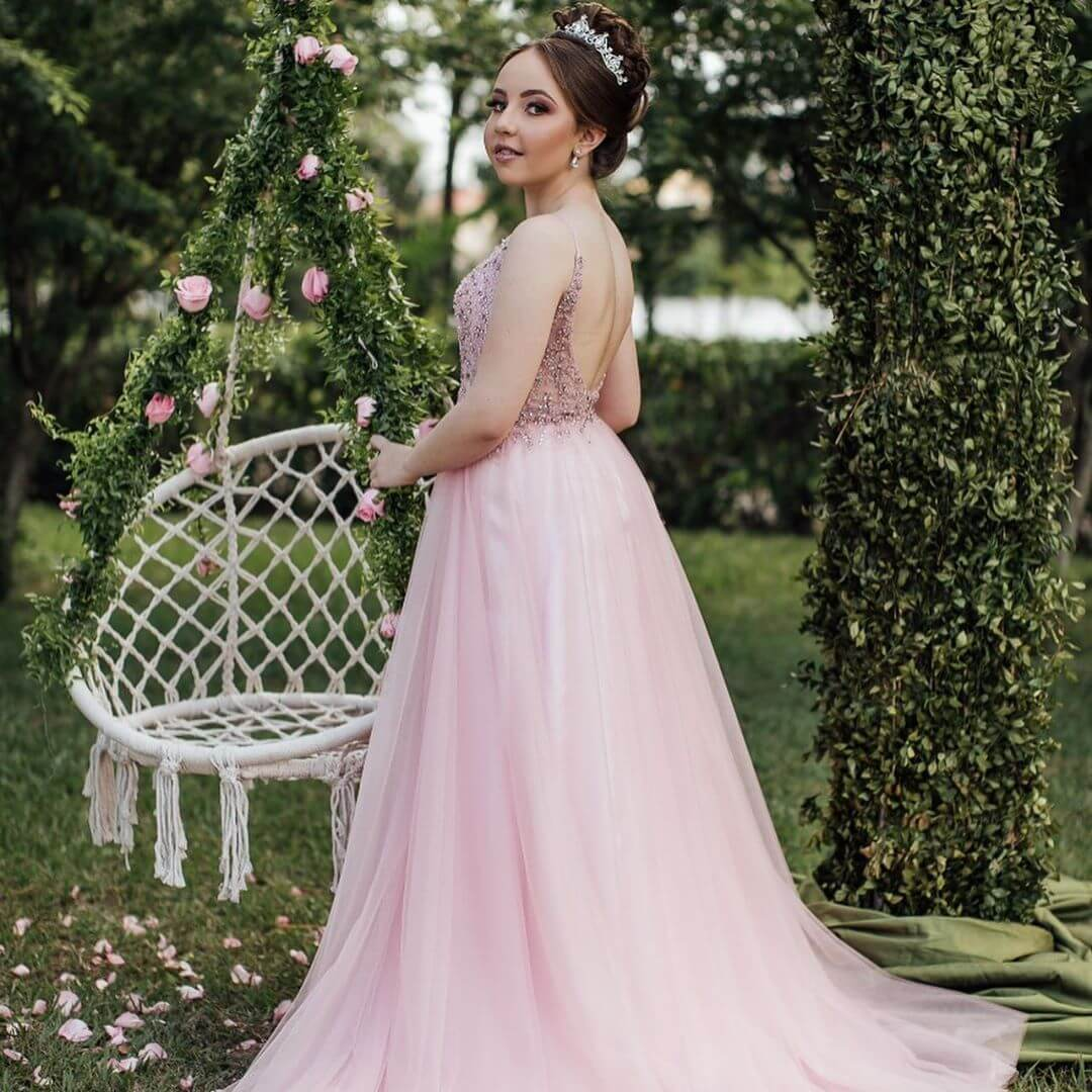 vestidos de quinceanera corte princesa rosa viejo